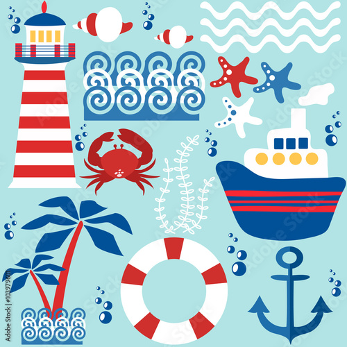 Papiers peints Hibou Set of objects of the sea