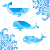 Watercolor whales set. Collection of cute whales isolated on white. Doodle waves corner decor. Vector illustration.
