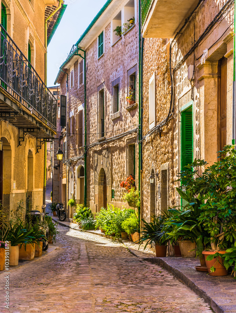 Foto op plexiglas picturesque street of a old mediterranean village nikkel art - Zoals mediterrane ...