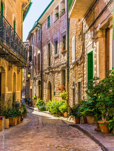 Picturesque street of a old mediterranean village