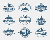 Fototapety Set of vector mountain and outdoor adventures logo