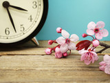 Spring Time Change / Pink Blossoms and an Alarm Clock on an Old Wooden Table