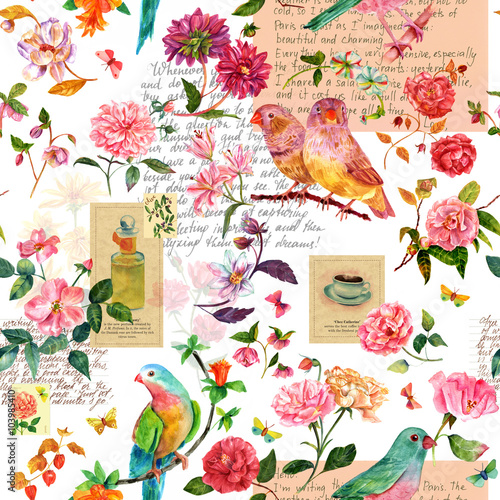 Cotton fabric Vintage collage seamless background pattern with birds, flowers and butterflies