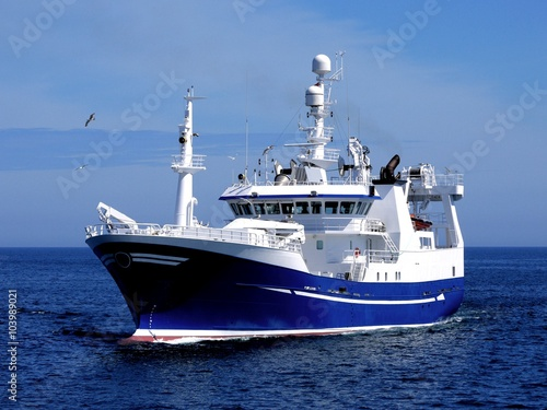 Fishing Vessel P1, Fishing Vessel underway to harbour to land fish.