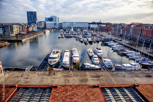 Foto op Plexiglas Antwerpen ANTWERP, BELGIUM - JAN 4: Aerial view of Antwerp port area with marina harbor form roof terrace museum MAS on January 4, 2015 in the harbor of Antwerp, Belgium