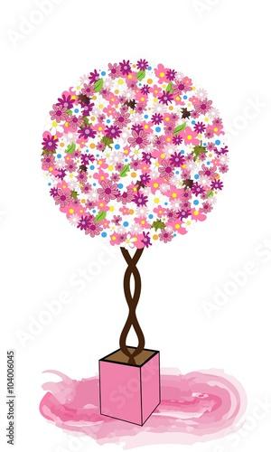 Naklejka Árbol de flores en maceta.
