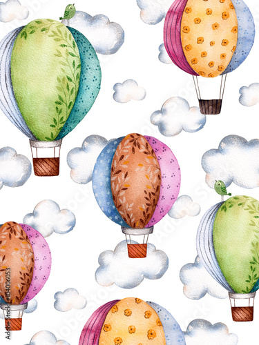 Watercolor pattern with air balloons and clouds in pastel colours.Handpainted air ballons beautifully decorated on white background with pastel cloud and little bird.Perfect for wallpaper,kids texture - 104006053