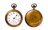 Antique Pocket Watch Isolated on White (Clipping path) - 104009489