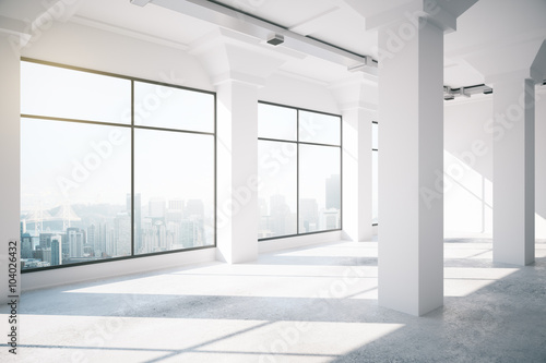 Empty white loft interior with big windows, 3d render © peshkova