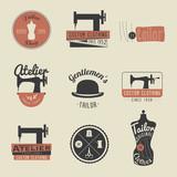 Set of vintage tailor labels, emblems and design elements. Retro
