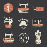 Set of vintage tailor labels, emblems and design elements. Retro