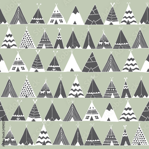 Cotton fabric Teepee native american summer tent illustration.
