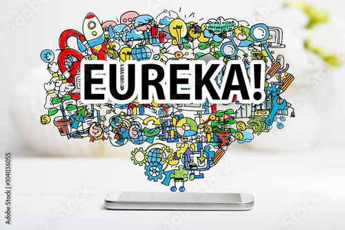 Eureka concept with smartphone Poster