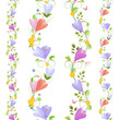 Cute collection of seamless borders with spring flowers for your