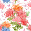 lovely seamless texture with bouquet of chrysanthemums.