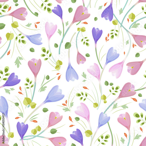 Cotton fabric cute seamless texture with crocuses