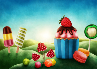 Fantasy candyland with cupcake
