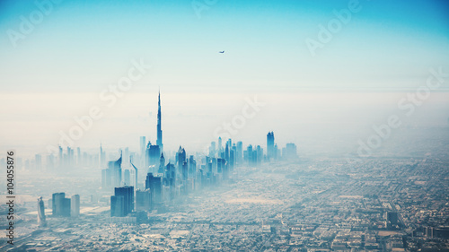 Tuinposter Dubai Dubai city in sunrise aerial view