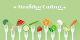 Fototapety Healthy Eating Concept Vector Illustration. Variety of fruit and vegetables sticked on forks flat design long shadow illustration
