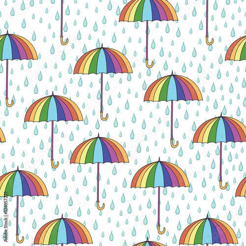 Fototapeta Seamless pattern with umbrellas and rain.