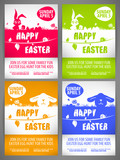 Happy easter Flyer templates Set with the big-eared rabbits and chicken silhouettes on the meadow