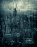 Artistic rendition of New York City with texture and tone