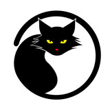 Vector black cat isolated on white background.