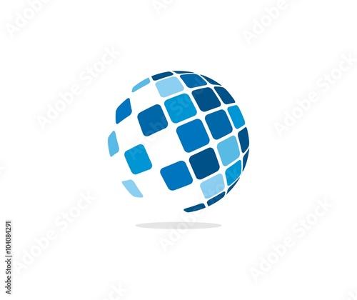 Fototapeta Tech globe logo