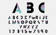 Black alphabetic fonts and numbers with color lines. Vector illustration. - 104085463