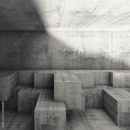 Abstract interior design with cubic structures 3 d
