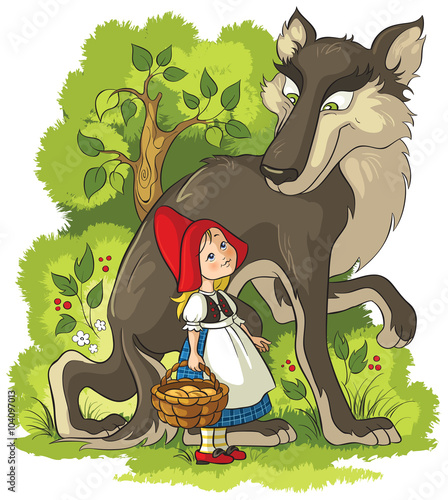 Little Red Riding Hood and Wolf in the forest - 104097013