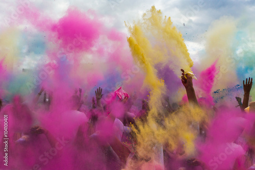 Holi festival of colours throwing paint powerder