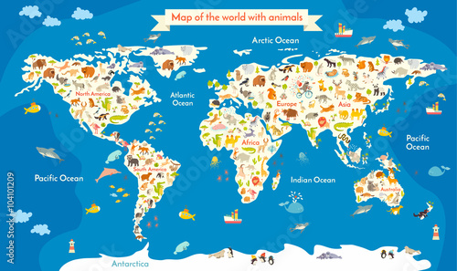 Map of the World with animals. Beautiful colorful vector illustration with the inscription of the oceans and continents. Preschool, for baby, children, kids and all people