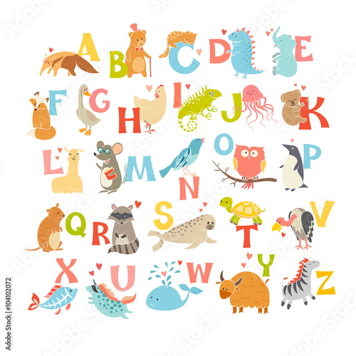 mata magnetyczna Cute vector zoo alphabet. Funny cartoon animals. Vector Illustration EPS10 isolated on white background. Letters. Learn to read