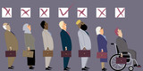 Line of diverse candidates for a job with a check boxes above their heads as a metaphor for  a discrimination during an employment interview, EPS 8 vector illustration