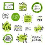 Fototapety Vector Illustration of Healthy Organic Vegan Food Lables