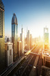Quadro Dubai skyline in sunset time, United Arab Emirates