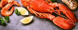 Fototapety Fine selection of crustacean. Steamed lobster with lemon