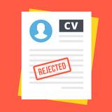 Rejected CV. Flat vector illustration