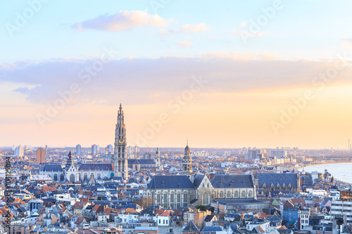 Fotobehang Antwerpen View over Antwerp with cathedral of our lady taken