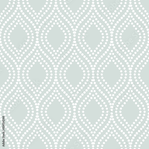 Seamless ornament. Modern stylish geometric light blue pattern with repeating white dotted wavy lines - 104134244