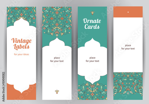 Tuinposter Abstract bloemen Vector set of vertical cards in Eastern style.