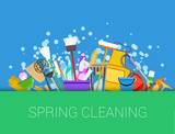 Spring cleaning background. Set of cleaning supplies, tools