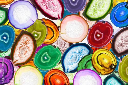 Obraz na Plexi Colorful mosaic made of backlit agate stones