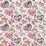Seamless pattern with colorful vintage pastel pink blue butterflies, flowers and hearts on white background. Vector illustration