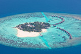 Fototapety Aerial view on Maldives island, Raa atol