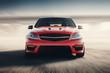 Detaily fotografie Red Sport Car Fast Drive Speed On Asphalt Road