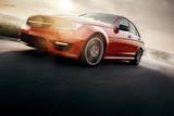 Red Sport Car Fast Drive Speed On Asphalt Road