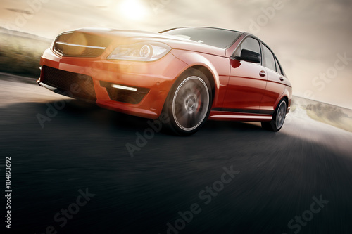 Plakat Red Sport Car Fast Drive Speed On Asphalt Road