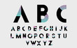 Black alphabetic fonts and numbers with color lines. Vector illustration. - 104196498